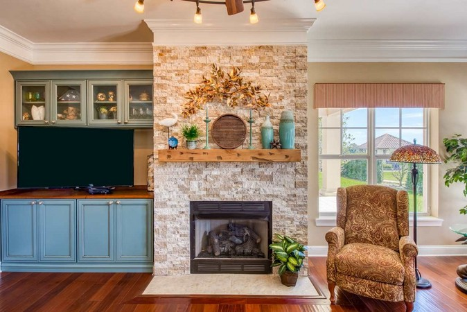 Gas Fireplace and Custom Built-Ins