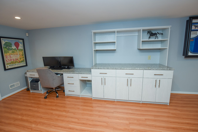 Custom cabinet and desk with granite top