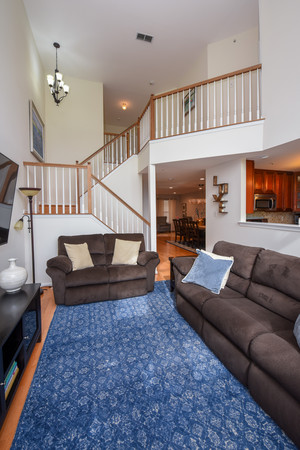 2Story Family Room with Stone gas fireplace